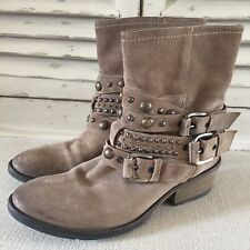 Russell & Bromley Taupe Suede Rockafella Studded Biker Boots, Size UK 3.5 / 36.5