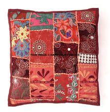 "16"" Large Maroon Patchwork Decorative Pillow Cushion Cover Throw Bohemian Boho"