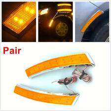 2 PCS Car SUV Wheel Eyebrow Side Marker Turn Signal Indicator 18 LED Light Lamp