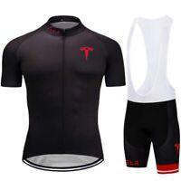 Men Cycling Jersey Bib Short Bicycle Bike Motocross MTB Shirt Team Tesla Clothes