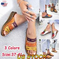 US Beach Women Comfy Platform Sandals Shoes Slip On Soft Cork Slipper Open Toe