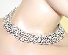 COLLANA ARGENTO girocollo collarino donna strass collier rigido colletto G60