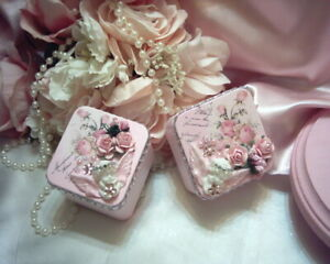 Shabby Victorian Cottage~2 PC Mini Square Tin Set~CHERUB~PINK~Rose Design~~OOAK