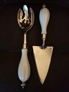 """Vintage Godinger Silver Plated White Porcelain Handle Servers Set 11"""""""