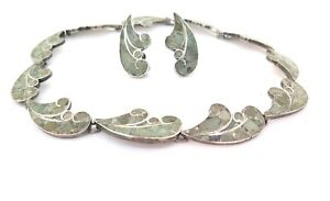 .Fabulous Vintage Mexican Sterling Silver Inlaid Stone Necklace & Earring Set