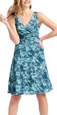 M&S BLUE GREEN LEAF FLORAL COTTON MIX TEA DRESS SUMMER HOLIDAY SUNDRESS SIZE 22