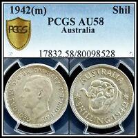 1942 Australia One 1 Shilling PCGS AU 58 About Unc Silver Coin