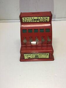 VINTAGE METAL CASH STORE REGISTER  UNCLE SAM'S 2 IN 1 PLAY STORE SAVINGS BANK