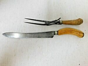 Antique Carving Knife & Meat Fork Set-Horn handles with  Silver Bands