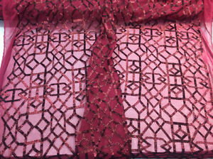 Magnificent geometric Sequins mesh Lace Bridal Wedding Burgundy. Sold By The Yar