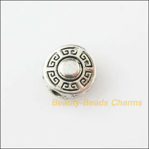 30 New Charms Round Flat Flower Tibetan Silver Tone Spacer Beads 9mm
