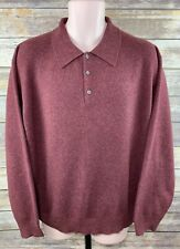 Woods & Gray Sz Large Men's Polo Sweater 100% Cashmere Collar Burgundy Maroon