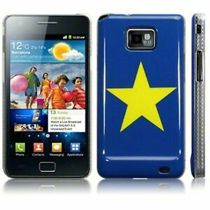 Blue Yellow Star Hard Plastic Back Case Cover for Samsung Galaxy S2 Phone Model