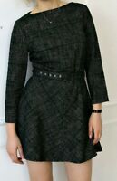 NWT ZARA Women Off Green Tweed Dress with Belt Long Sleeves size M $69  #1074