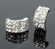 CRYSTAL rhinestone HUGGIE half hoop STUD EARRINGS curved studs DIAMANTE silver