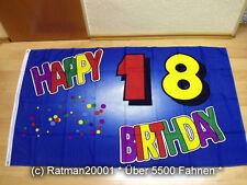 Fahnen Flagge Happy Birthday 18 Jahre - 90 x 150 cm