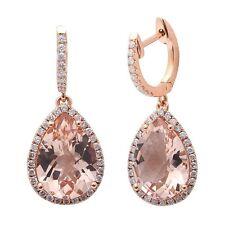 5.49cts Pear  Morganite Gemstone & Diamond 14k Rose Gold Earrings