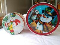 "Snowman Empty Tins 5.5"" & 7.5"" Round Lot Of 2 Christmas Treats Advertising"