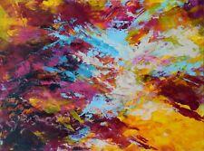 """Peinture abstraite sur papier, oeuvre unique et originale signée HZEN- """"HYPNOSE"""""""