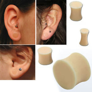 """Pair Double Flare Solid Beige Silicone Plug Retainer Ear Gauge Earlobe 8g-5/8"""""""