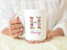 Personalized Coffee Mug Personalized Name Coffee Cup Initial Mug Pink Floral