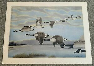 """REX BRASHER """"FLYING DUCKS"""" HAND COLORED LITHOGRAPH PRINT. SIGNED IN INK. 1920s."""