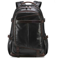 Black Large Waterproof Men Leather Backpack Laptop School Bag Gents Travel Bags