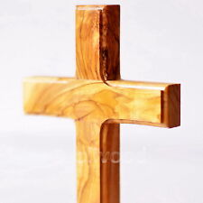 """20 Cm (7.9"""") Classic Latin Olive Wooden Cross Wall / Standing Holy Land Gift New"""
