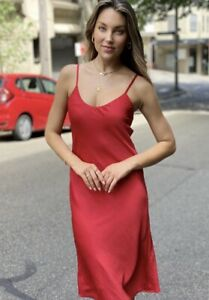 Satin Slip Size 8Dress Red Good Quality Valentines Day Dating Night Party Theme