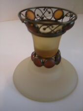 Partylite Retired #7687 Taper Holder With Box-Shades Of Gold
