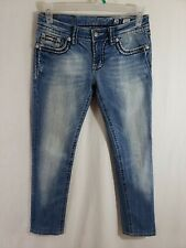 Miss Me Skinny Fit Womens Denim Blue Jeans Size 28 x 29 Ankle Light Wash Mid Rz