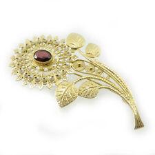 Spilla fiore in filigrana argento dorato imperlata a mano per velo costume sardo