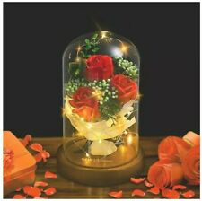 Shirylzee Beauty And The Beast Rose Red Enchanted Rose In Glass Dome On Wooden