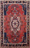 Vintage Tribal Hamedan Hand-knotted Area Rug Medallion Oriental Wool Carpet 4x5