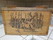 Vintage Wood Deer Elk Ammo Storage Box By Evans 1994 Sporting Hunting Euc
