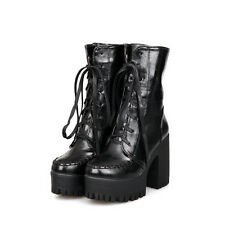 Punk Womens Lace Up Ankle Boots Chunky Heel Platform Gotic Heel Shoes Plus Sz