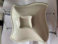 Godinger Covered Quart Porcelain Baker + Warming Stand 3 Pieces