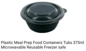 Plastic Meal Prep Food Containers Tubs 375ml Microwavable Reusable Freezer safe