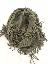 Anthropologie Infinity Loop Scarf Gray Fringed Fun Soft & Cozy