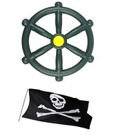 Kids Pirate Wheel Green for Climbing Frames plus a FREE Jolly Roger Pirate Flag