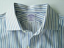 Brooks Brothers 346 Non iron Striped Slim Fit Mens Dress Shirt Spread Collar 16