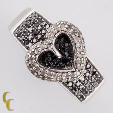 Sterling Silver Black & White Diamond Heart Shape Band Ring Size 8.75