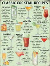 Classic Cocktail Ricette Segno Di Placca Di Metallo Vintage Retrò Pub Bar Regalo Originale