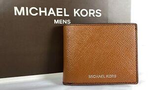 Michael Kors Mens Harrison Luggage Leather Billfold Wallet $128 36U9LHRF5L
