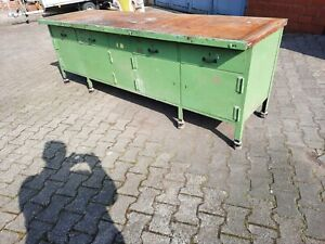 Ca. 260x 80 cm alte Werkbank  Industriewerkbank 4 Schubladen 4x Tür shabby chic