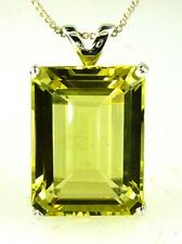 Very Large Lemon Citrine Emerald Cut Pendant 925 Sterling Silver 20X15 MM