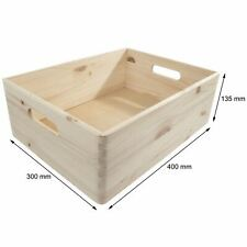 Choice of Stacking Wooden Open Boxes Plain Crates with Handles / Small to XLarge