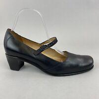 Vtg Handmade Vabene Black Leather Slip On Court Mary Jane Low Heels  Shoe 39 UK6