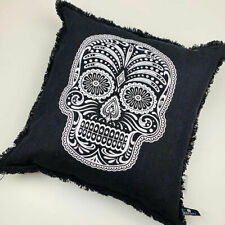 "Halloween Sugar Skull Day of The Dead 20"" Black & White Cotton Square Pillow"
