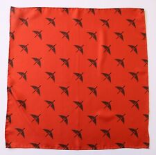Silk Hand rolled pocket square. Orange with sword, dagger and wings logo